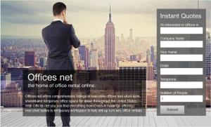 Offices.net redesigned homepage
